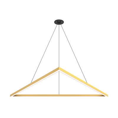 Cirrus MIYO Triangle Lit Corners LED Suspension with Power,<br />Satin Brass and Black Canopy