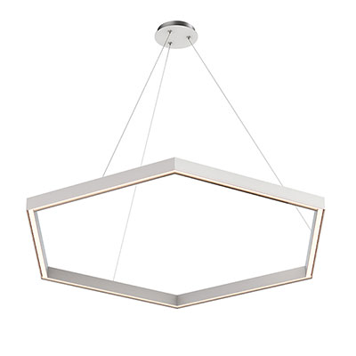 Nova Up/Down MIYO Hexagon LED Suspension<br />With Power, Satin Nickel Finish