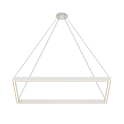 Nova MIYO Rectangle LED Suspension<br />With Power - Lit Corners, Satin Nickel Finish