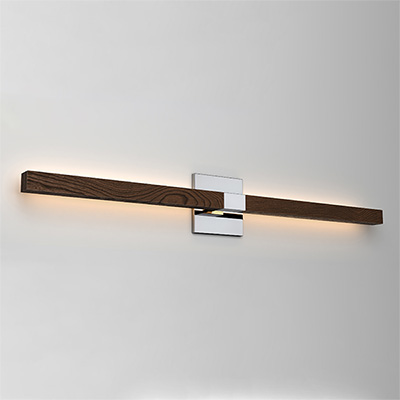 Tie Stix 2-Light Wall Indirect 24VDC LED Horizontal With Power - Warm Dim LED Technology, 4SQ Chrome Canopy, Wood Walnut Channel Finish